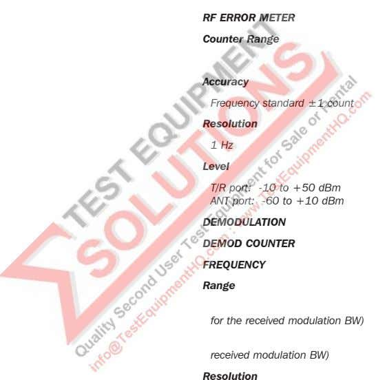RF ERROR METER Counter Range 0 Accuracy Frequency standard ±1 count Resolution 1 Hz Level