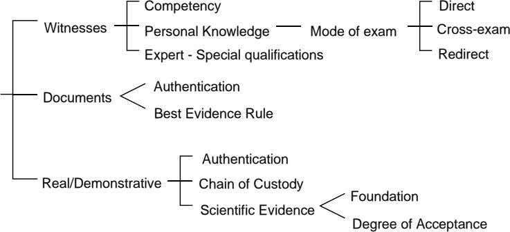Competency Direct Witnesses Personal Knowledge Mode of exam Cross-exam Expert - Special qualifications Redirect