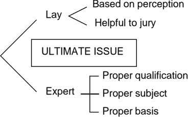 Based on perception Lay Helpful to jury ULTIMATE ISSUE Proper qualification Expert Proper subject Proper
