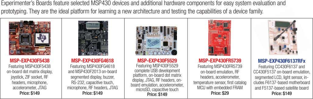 Experimenter's Boards feature selected MSP430 devices and additional hardware components for easy system evaluation and prototyping.