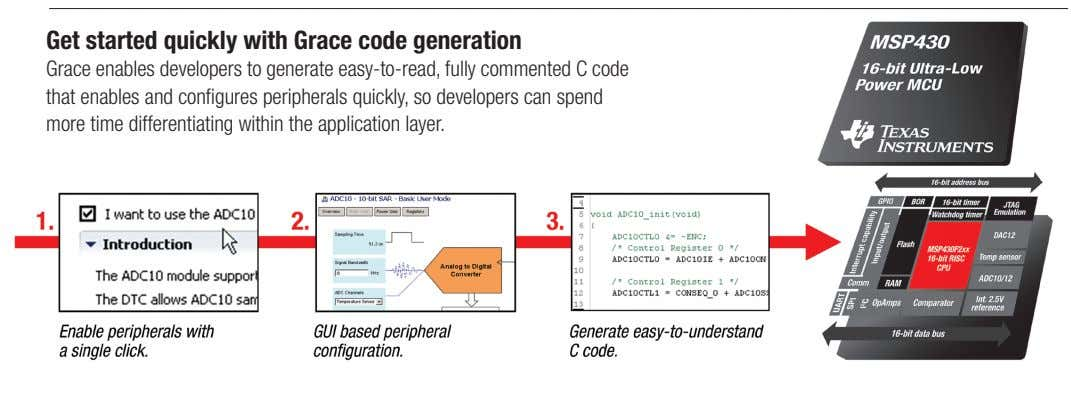 Get started quickly with Grace code generation Grace enables developers to generate easy-to-read, fully commented C