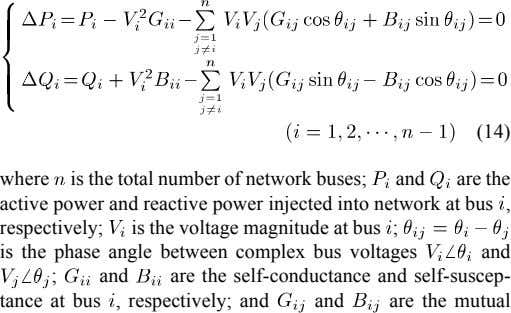 (14) where is the total number of network buses; and are the active power and