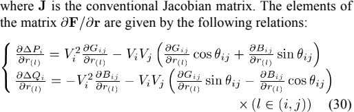 where is the conventional Jacobian matrix. The elements of the matrix are given by the