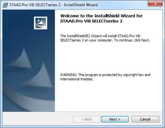 Note: If you have a previously installed version of STAAD.Pro on your com- puter, you