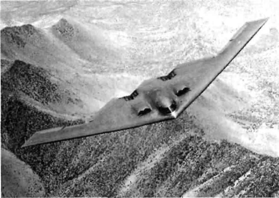 TESTIMONIAL SECTION Edge-on photo of the B-2 Bomber which no longer displays the black dielectric layer
