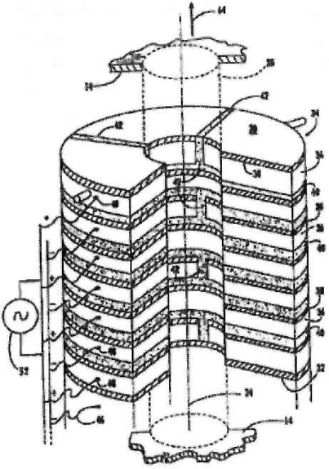 Fig. 6 Capacitor propulsion with alternating metal and dielectric layers from PCT patent WO 00/58623