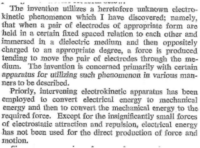 Brown makes no reference to gravitational effects: from Townsend Brown US Patent No. 2,949,550 entitled