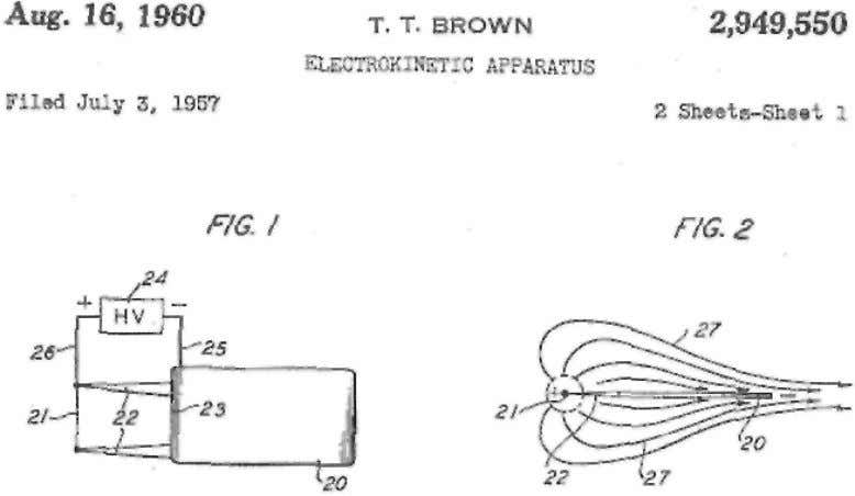 "Fig. 3 Figure excerpt from Thomas Townsend Brown US Patent No. 2949550 entitled ""Electrokinetic Apparatus"","