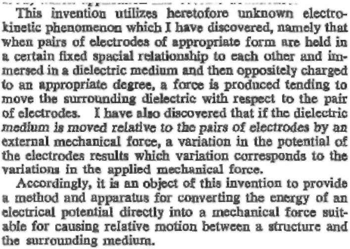 Quoting from the 1962 patent by Thomas Townsend Brown: 32 Fig. 4 Excerpt from Thomas Townsend