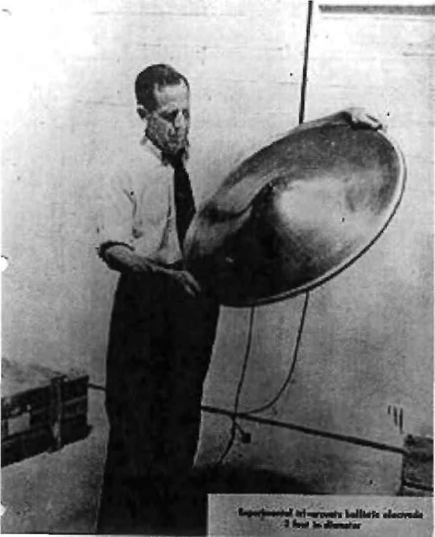 "HISTORICAL SECTION Bahnson holding ""experimental ballistic electrode"" 70"
