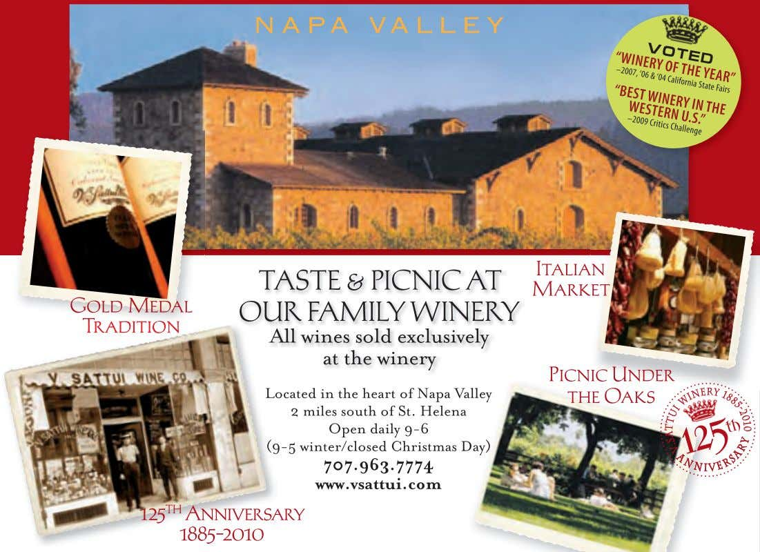& crackers to pair with your wine tasting. 4-5:30pm, 707-996-4188, www.anabawines.com www.WineCountryThisWeek.com 13