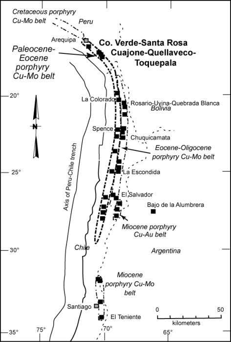 is provided for those interested in further information. Figure 1. Porphyry copper belts of the central