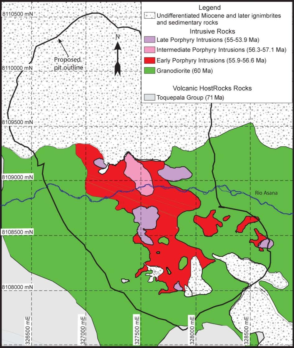 Figure 9. Geologic map of the Quellaveco porphyry Cu deposit. Coordinates in Peruvian Coordinate System