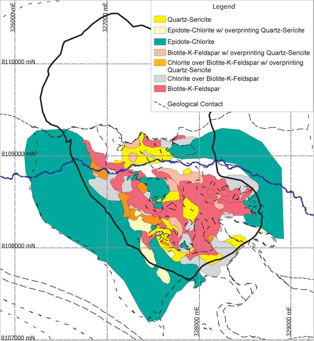 Figure 11. Geologic map of hydrothermal mineral assemblages at Quellaveco. Geologic contacts from figure 9