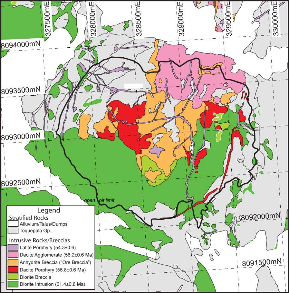 Figure 12. Geologic map of the Toquepala Mine. Coordinates in Peruvian Coordinate System (PSAD56); zone