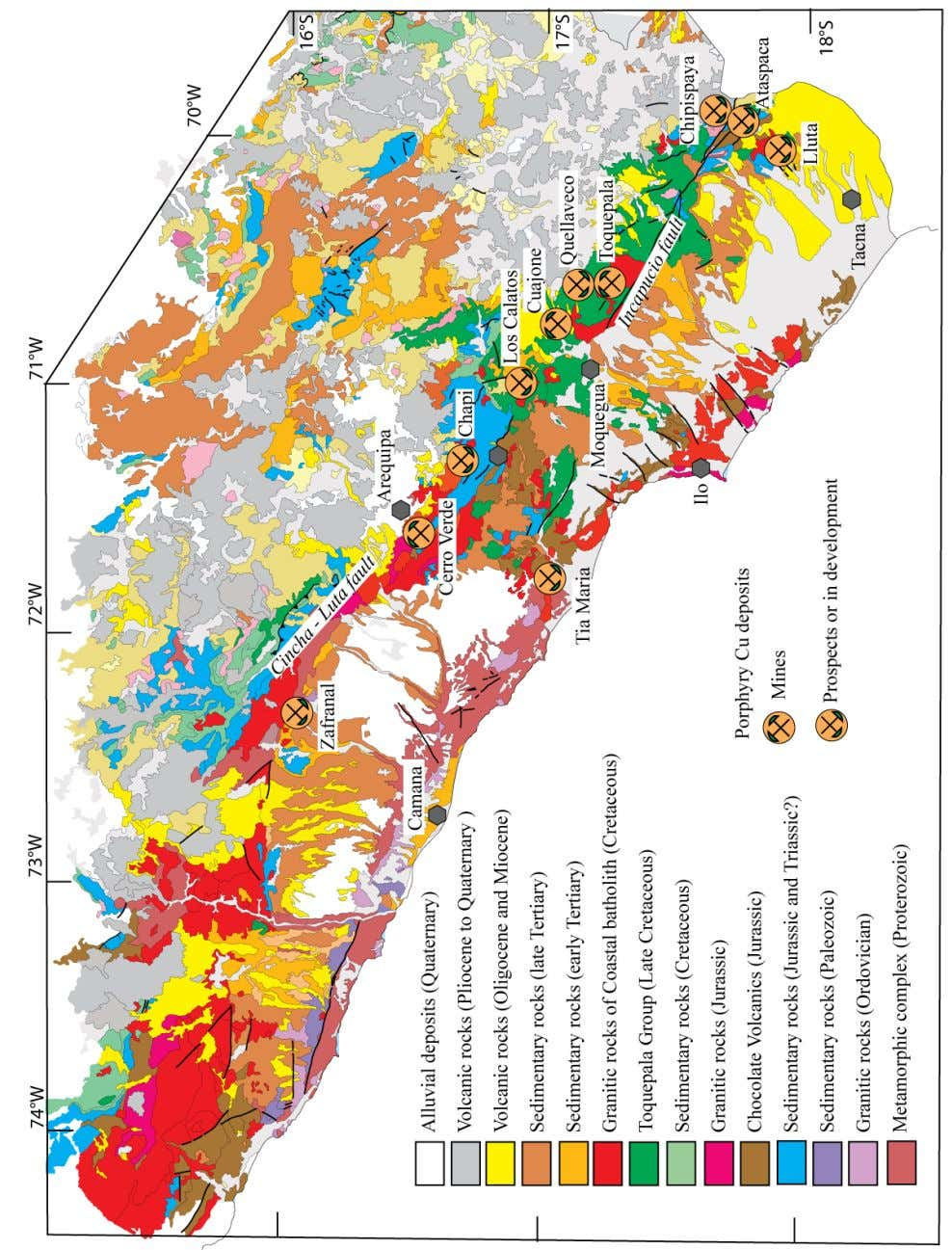 Figure 2. Simplified geologic map of southern Perú showing distribution of porphyry Cu mines and