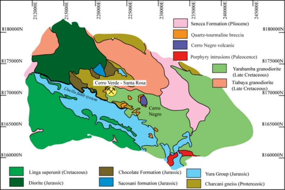 Figure 3. Simplified geologic map of the Cerro Verde-Santa Rosa porphyry Cu deposits. Modified from
