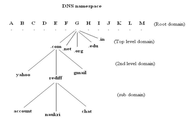 Fig 7: Tree structure or Domain Namespace 3.5.1.5 DNS server Any computer providing domain namespace