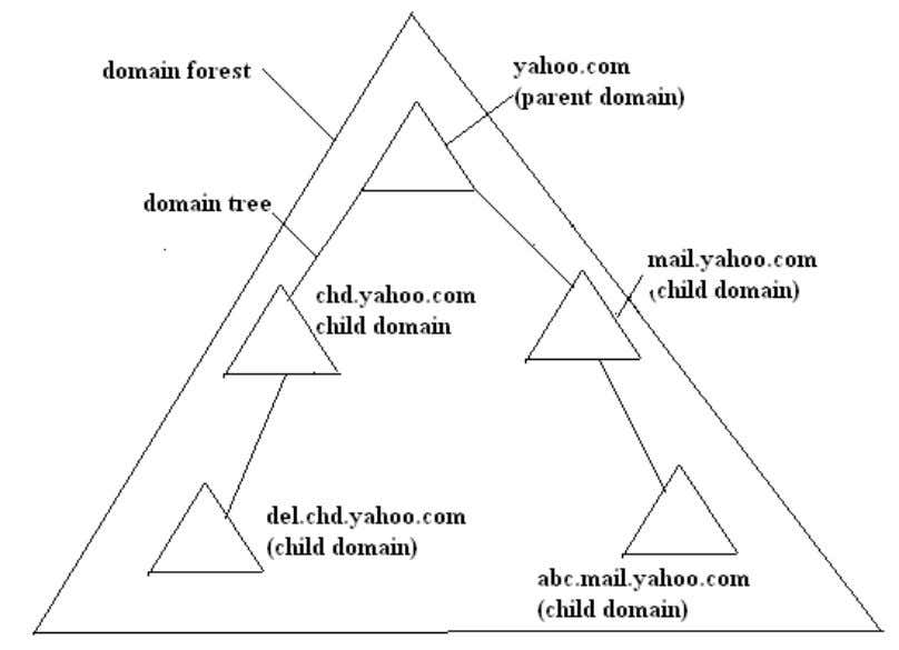 Fig 8: Structure of domain forest and domain tree Organization Unit (OU) Organization unit is