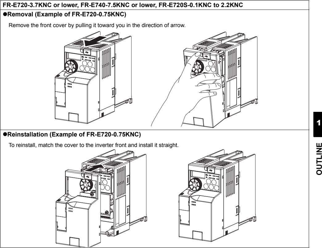 FR-E720-3.7KNC or lower, FR-E740-7.5KNC or lower, FR-E720S-0.1KNC to 2.2KNC Removal (Example of FR-E720-0.75KNC) Remove