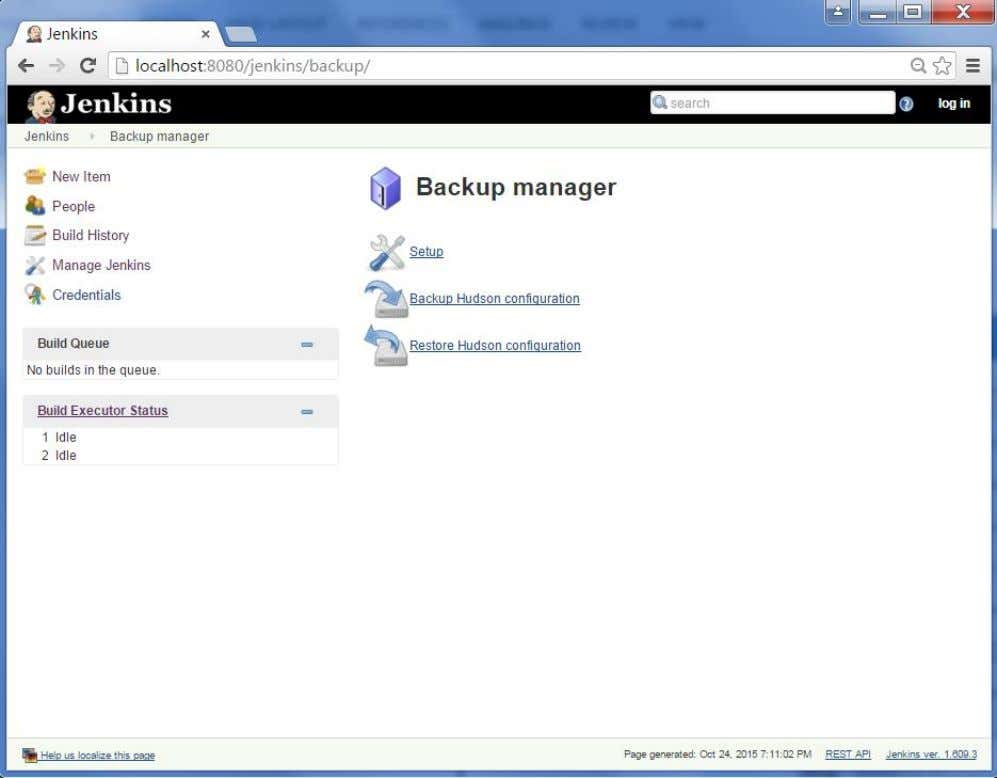 Step 6 : Click on the 'Backup Hudson configuration' from the Backup manager screen to initiate