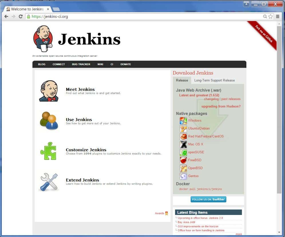 home page of the Jenkins official website as shown below. By default, the latest release and