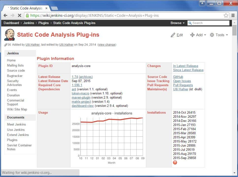 ci.org/display/JENKINS/Static+Code+Analysis+Plugins This plugin provides utilities for the static code analysis