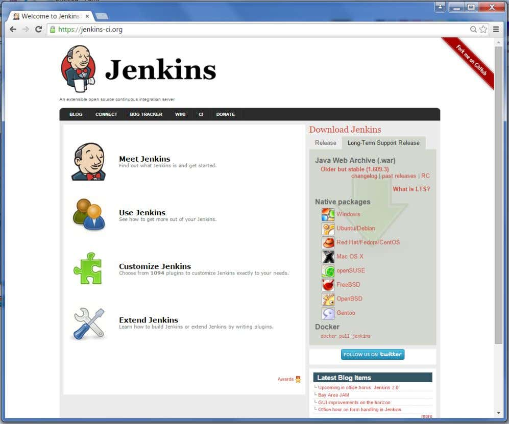 "Jenkins Click the link ""Older but stable version"" to download the Jenkins war file. Starting Jenkins"