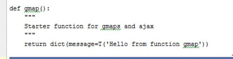 Inside the views/default folder create a new html file called default/gmap.html. Copy the html from