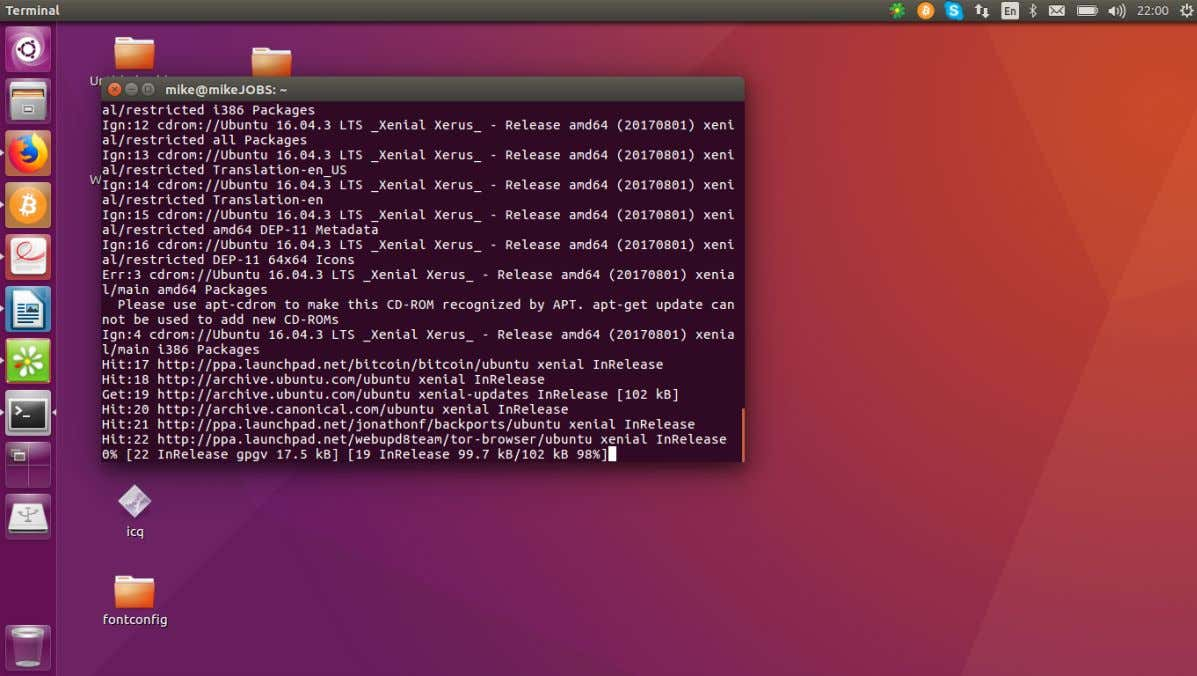 lets allow UBUNTU to update when finished , then In the terminal type sudo apt-get