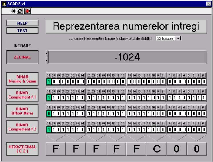 Binary integer representation. Normal values Fig. 1 The user interface. For binary input data, the program