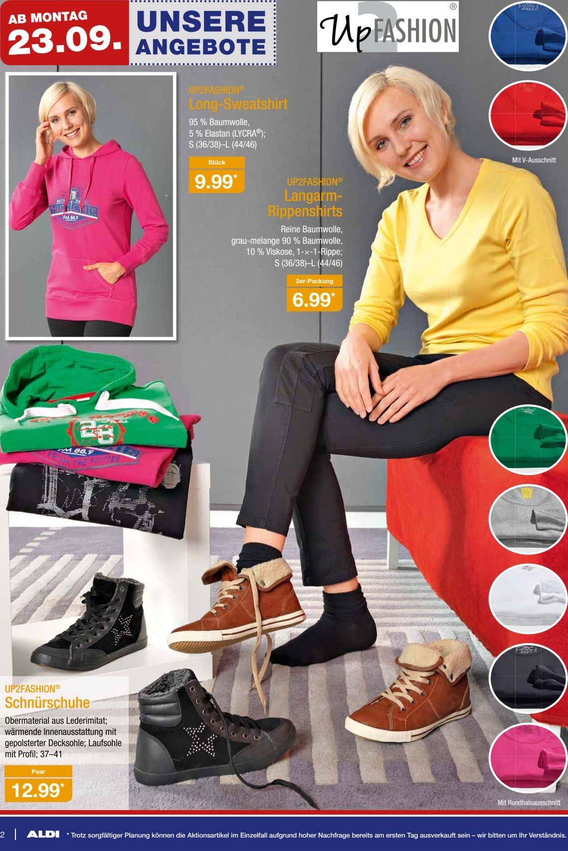 AB MONTAG 23.09. UP2FASHION ® Long-Sweatshirt 95 % Baumwolle, 5 % Elastan (LYCRA ® );
