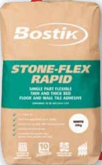 FLoor ANd WALL tILE AdhESIvE CONFORMS TO BS EN 12004 : C2FT • Fast track sets