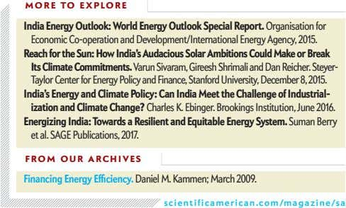 MORE TO EXPLORE India Energy Outlook: World Energy Outlook Special Report. Organisation for Economic Co-operation