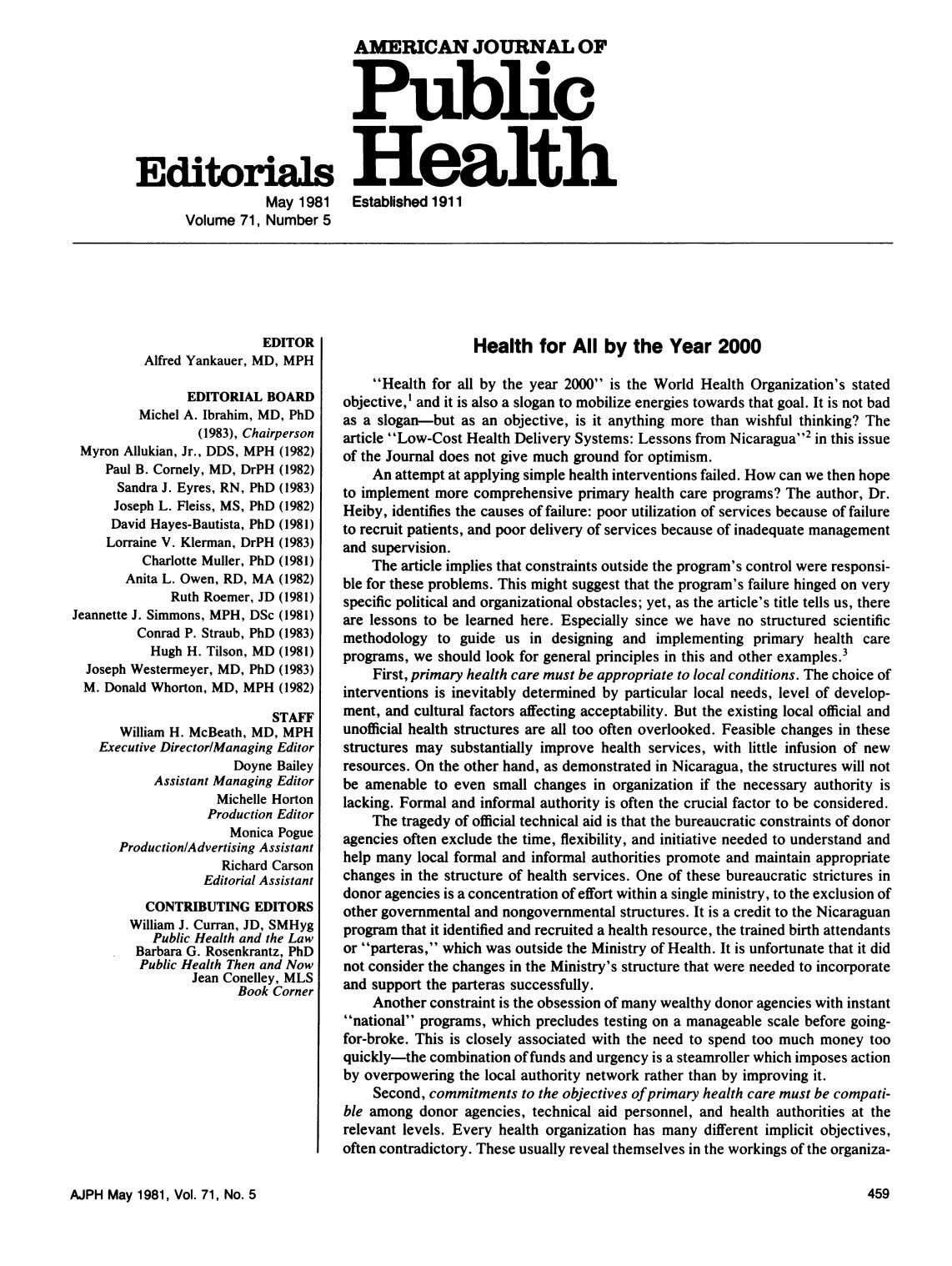 AMERICAN JOURNAL OF Public EcitrisHealth May 1981 Established 1911 Volume 71, Number 5 EDITOR Health