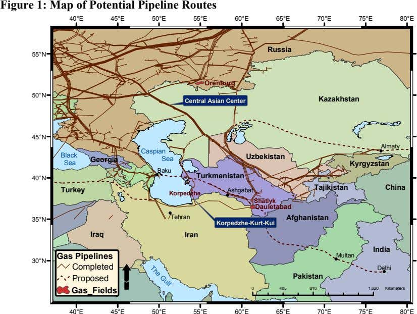 Figure 1: Map of Potential Pipeline Routes 40°E 45°E 50°E 55°E 60°E 65°E 70°E 75°E