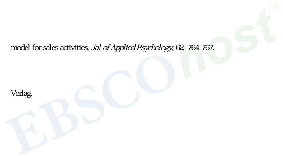 Y. model for sales activities, Jal of Applied Psychology, 62, 764-767. 7. 8. B. Verlag.