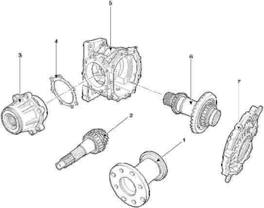clutch Resistance (Ω) 2.2~2.6 (25℃) 2. Components 1. Rear flange assembly 2. Pinion shaft 3. Pinion