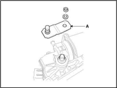 10. Remove the wiper motor (A) after loosening the screws. Installation 1. Install the wiper
