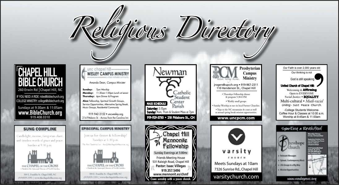 Reli g ious Directory Presbyterian Our Faith is over 2,000 years old CHAPELHILL Campus Our