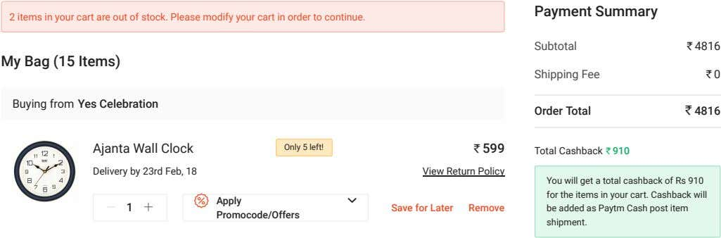 Payment Summary 2 items in your cart are out of stock. Please modify your cart