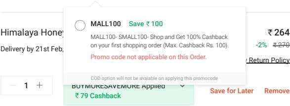 MALL100 Save 100 Himalaya Honey & Cream Soap 125gx6 264 MALL100- SMALL100- Shop and Get