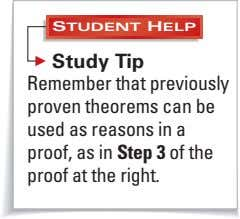 STUDENT HELP Study Tip Remember that previously proven theorems can be used as reasons in