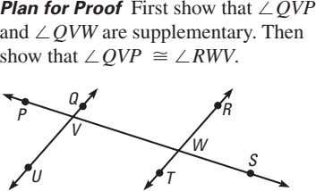 Plan for Proof First show that ™QVP and ™QVW are supplementary. Then show that ™QVP