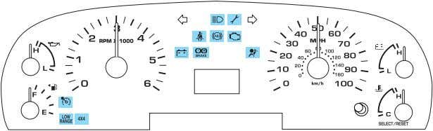 CHIMES Standard instrument cluster (manual transmission) Standard instrument cluster (automatic transmission)