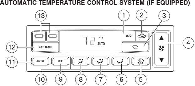 AUTOMATIC TEMPERATURE CONTROL SYSTEM (IF EQUIPPED) A/C F AUTO EXT TEMP AUTO OFF