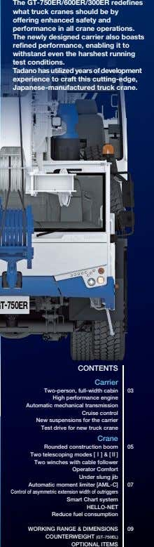 The GT-750ER/600ER/300ER redefines what truck cranes should be by offering enhanced safety and performance in