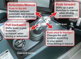 Push forward Automatic/Manual Push to the left Switches between automatic and manual (switchable at all