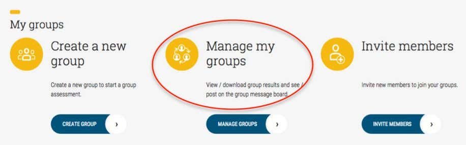 group management-related functions on the User Dashboard. This menu takes you to a list of all
