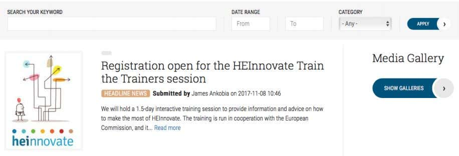 & Events section of the site, where you can see the latest updates about HEInnovate and
